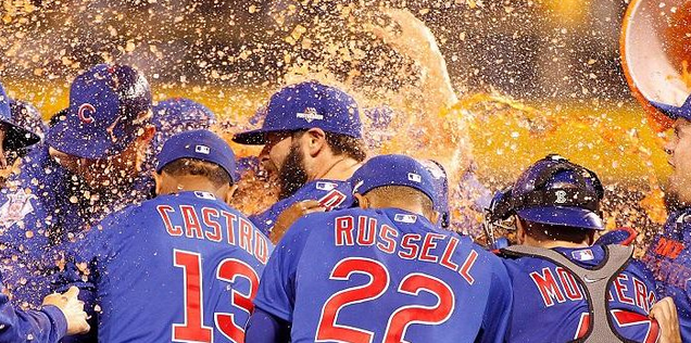 Cubs Celebrate NL Wild Card Game Victory over Pirates with Gatorade Shower of Jake Arrieta on the mound