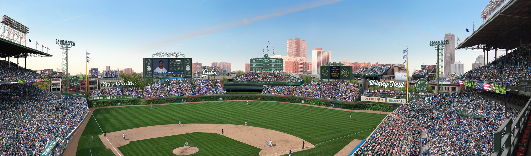 Wrigley Field Panoramic 2015 New Scoreboard Rendering with Completed Bleachers and new Scoreboards and Signage